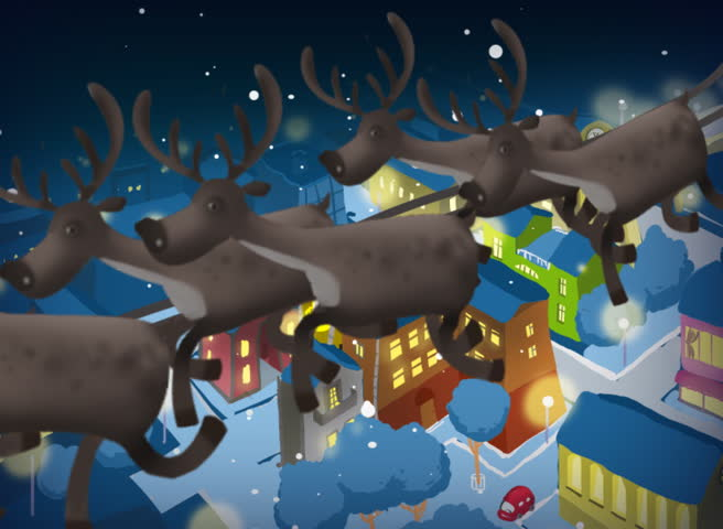 Santa Claus gives presents flying over the city at night