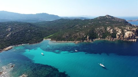 Aerial over the coast of sardinia.