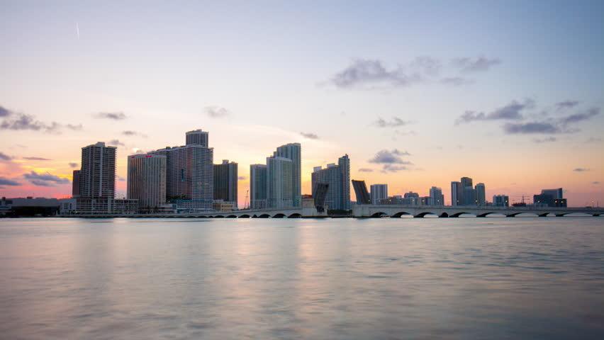 Miami sunset downtown ocean gulf panorama 4k time lapse florida usa | Shutterstock HD Video #10931885