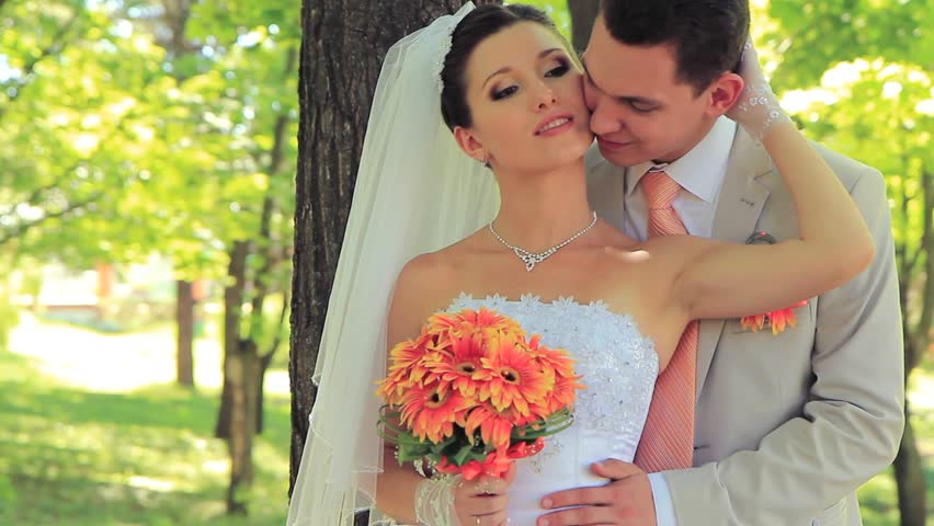 Newlyweds Embracing Each Other In A Park Hd Stock Video Clip