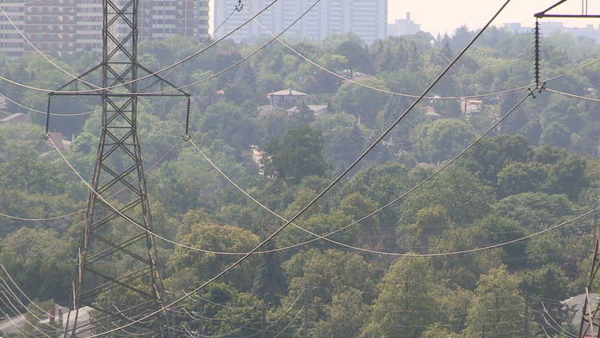 Toronto, Ontario, Canada July 2015 Hydro and power lines stressed and sagging in severe heatwave on hot summer day    Shutterstock HD Video #11003417