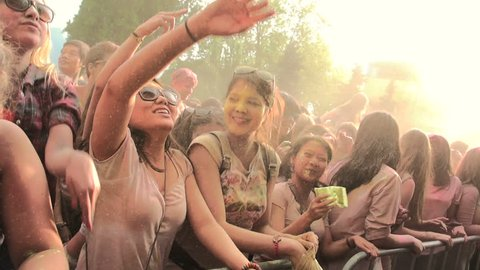 MONTREUX/SWITZERLAND, 16 MAY 2015 : First Holi Festival of colors shot in slow motion.