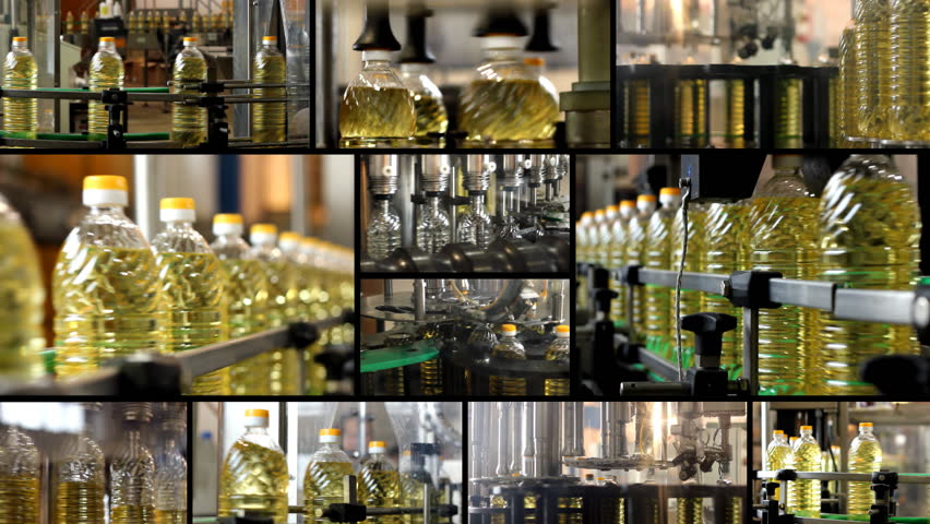 Sunflower oil factory collage