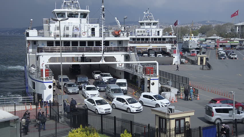 Eminonu Istanbul A Domestic Car Ferry Boat Are Landing And Cars