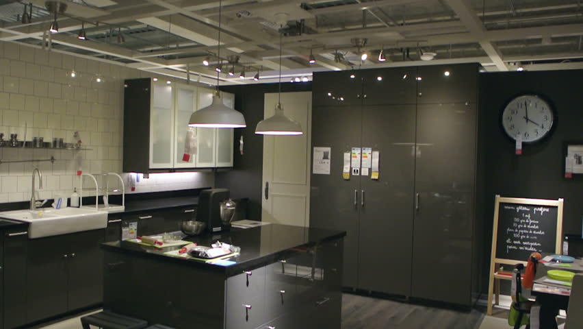 paris france circa ikea furniture store and customers browsing through its furniture