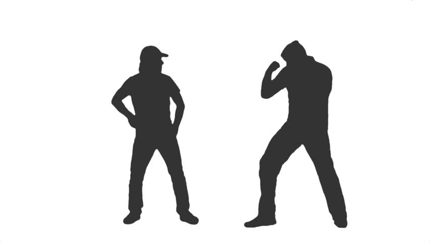 self defense silhouette of an aggressive gangster attacks a man side view