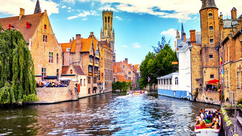 Bruges cityscape with view on Belfry, Belgium. Timelapse, Full HD, 1080p
