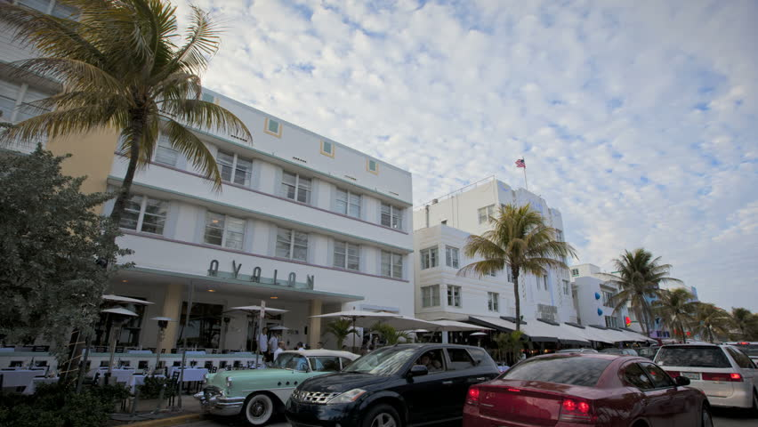MIAMI BEACH, FLORIDA - FEBRUARY 14: in this time-lapse view cars passing through