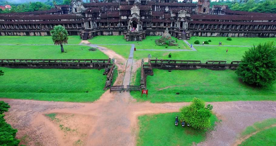 SIEM RIEP,CAMBODIA - CIRCA July 2015 :ground to air craneshot reveal drone aerial - Angkor Wat   Shutterstock HD Video #11139092