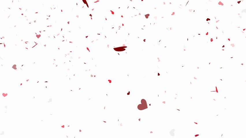 Heart shape confetti falling animation - alpha channel included
