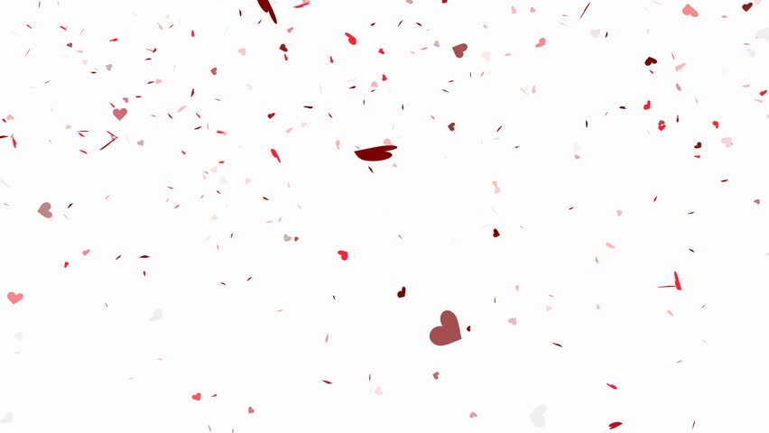Heart shape confetti falling animation - alpha channel included