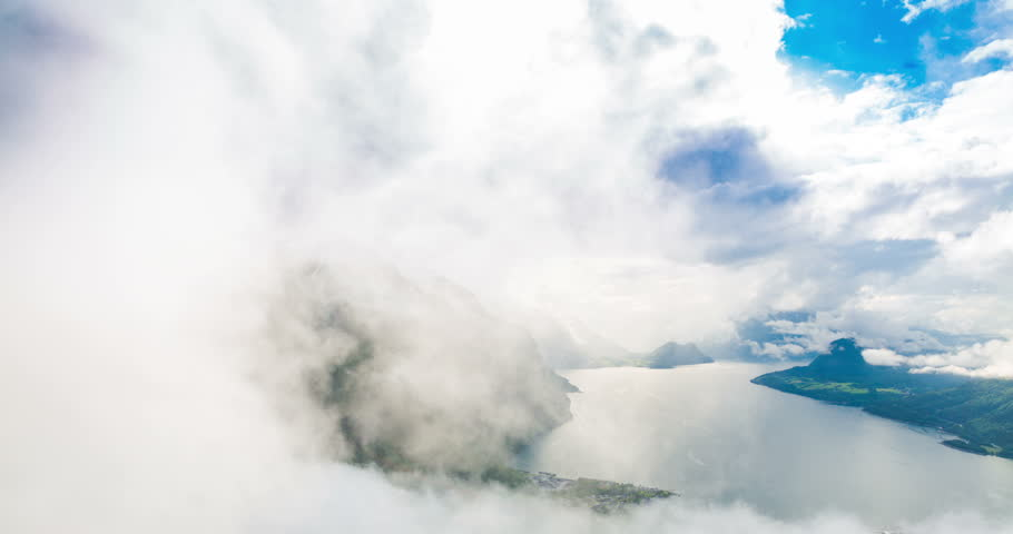 4K Norway Mountains And Landscape View - Clouds Time Lapse Tilt Up Andalsnes, Rauma, Norway | Shutterstock HD Video #11147117