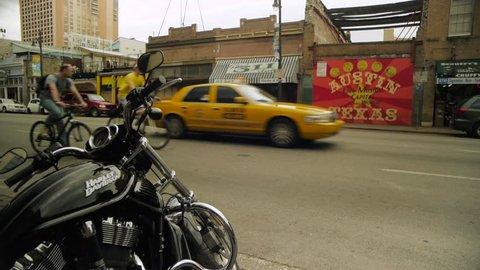 AUSTIN, TX - CIRCA MAY, 2012: Cars and Bikes on 6th Street