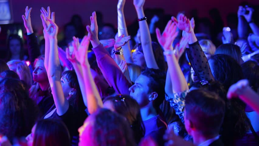 Kiev, Ukraine - 21/04/2014: Youth disco. Young people dancing with their hands up. Night club. #11183837