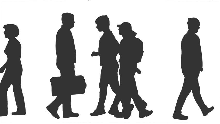 people silhouette walking