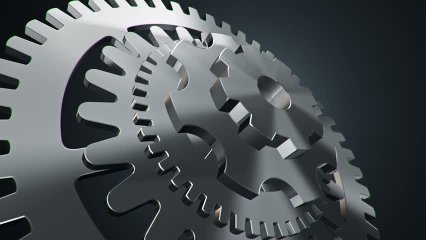Animation Rotation of Steel Gears Stock Footage Video (100