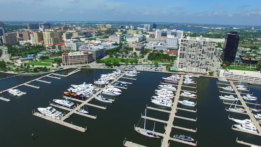 Aerial Video Of West Palm Beach Florida Marina With Yachts Stock Footage Video  Shutterstock