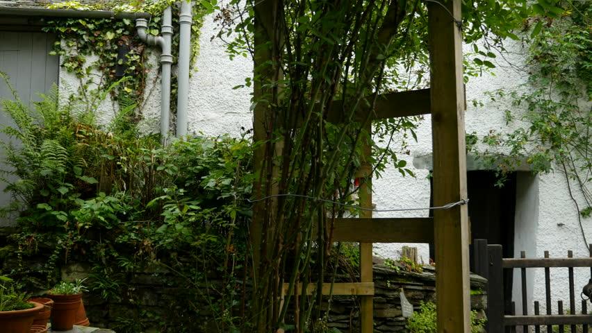Dove Cottage, Lake District home of poet William Wordsworth. Slider shot in garden