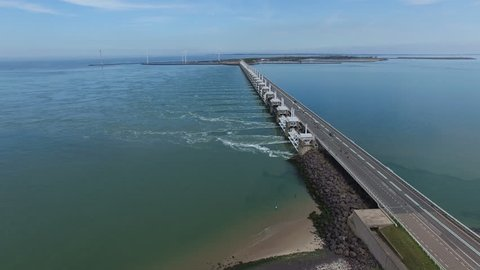 HQ Aerial Drone Video (Ultra HD) of the famous Dutch Delta Works.. Sunny weather. Camera:  Steady view while ascending.