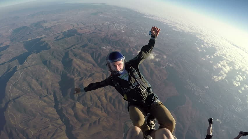 POV Man Sky Diving, Extreme Sport