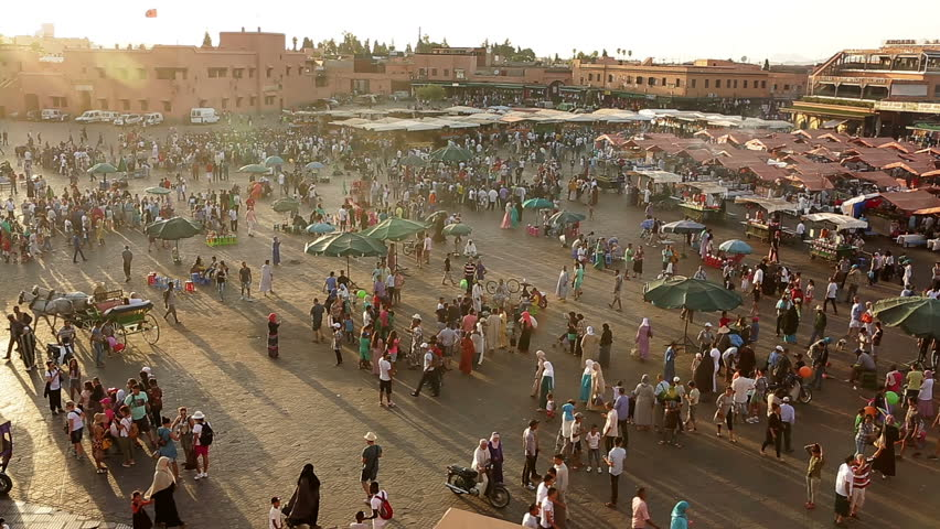 Marrakech, Morocco - July 26,2015 :Summer time ,since their home is so warm, peoples of Marrakesh come and spend their night time in Djemma El Fna square which is taken into UNESCO heritage program.