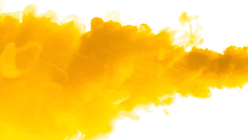 Yellow Ink In Water.Creative Slow Motion. On A White