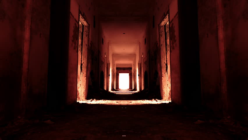 Descend to hell,horror concept,red glowing scary building interior motion.Hd motion control timelapse inside a long scary abandoned corridor with morphing and zoom in effect.