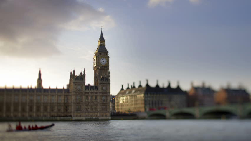 timelapse of big ben and houses of parliament shotwith a tilt shift lens, with focus on the clock face