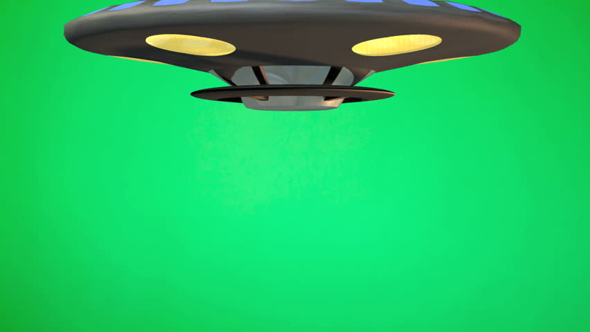 Toy Flying Saucer UFO rotates down from top of green screen. Stops then rotates fly's up to top of green screen | Shutterstock HD Video #1130407