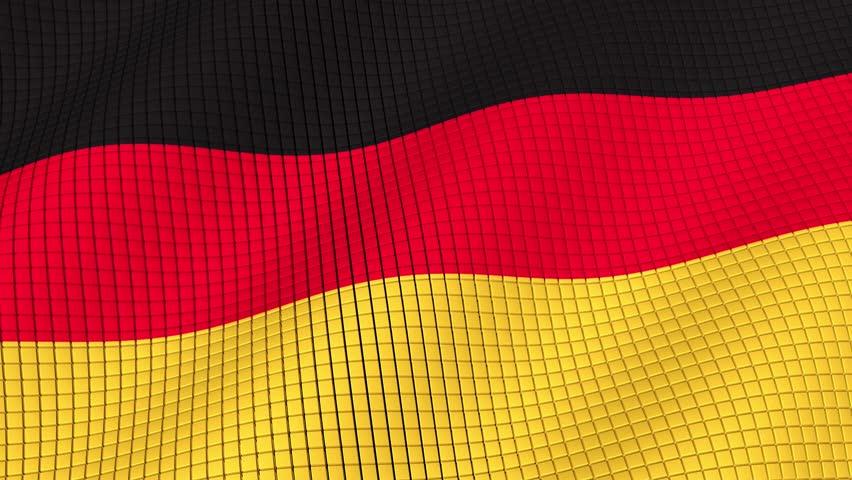 Flag of Germany develops waves. Looped. Full HD 1080.