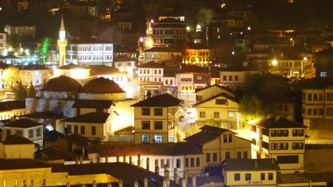 Night Timelapse, Traditional Ottoman Anatolian Village, Safranbolu, Turkey, zoom out