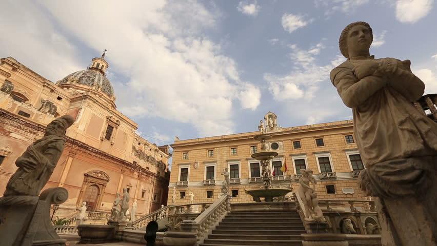 Palermo Sicily July 2015, Dolly Shot Time Lapse Close up Status Fontana Pretoria of Piazza Pretoria at Palermo Sicily Italy