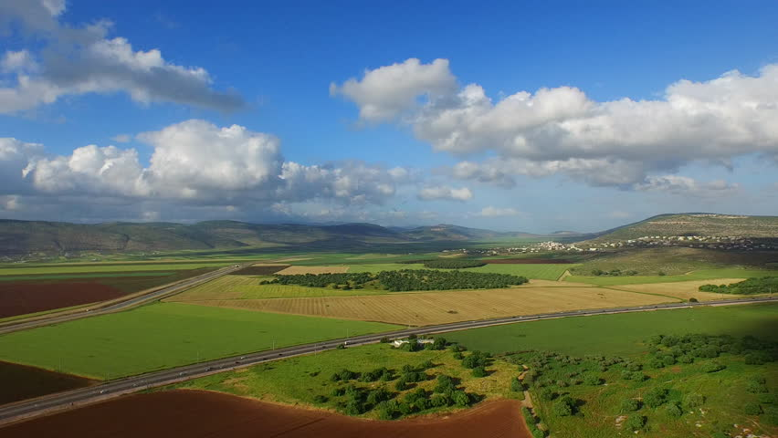 JEZREEL VALLEY, ISRAEL - CIRCA MARCH 2015: Aerial of the beautiful Jezreel Valley