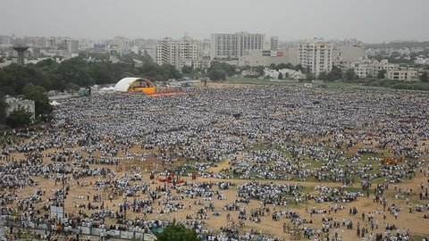 """AHMEDABAD,GUJARAT/INDIA – 25th August Tuesday 2015 – Lakhs of people taking part in protest, supporting 'right' of reservation""""  in Ahmedabad,India."""