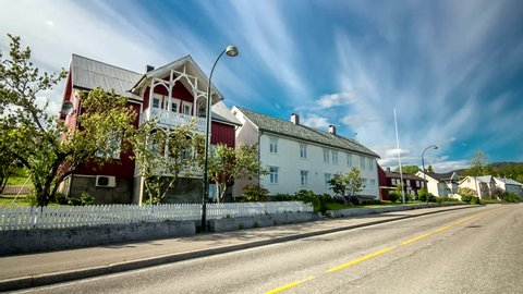 Hyperlapse from street in Norway. (Leksvik). 4k time lapse footage.