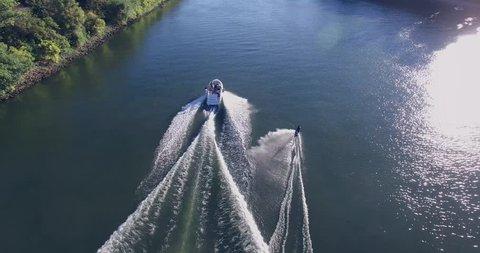 Man on a water ski. (soft focus and slight grain)