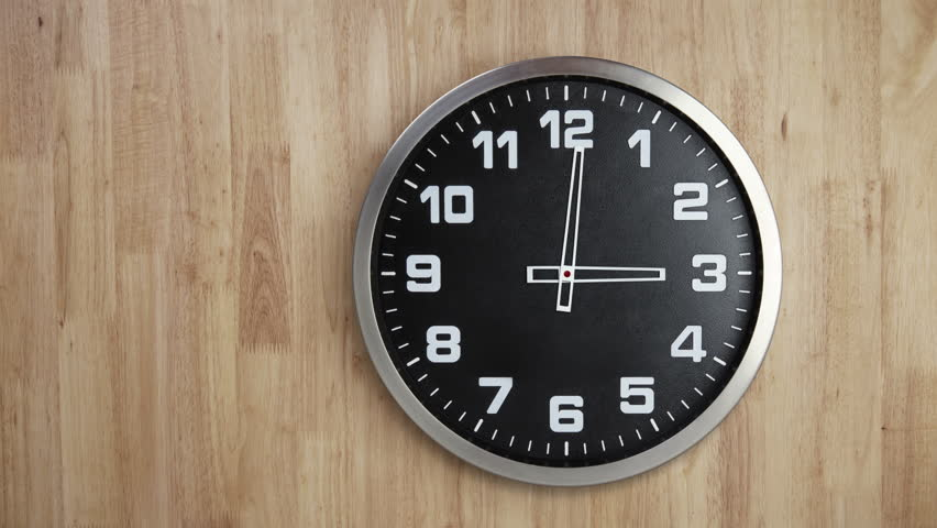Clock Timelapse on Wooden Wall, 12 Hours Loop able