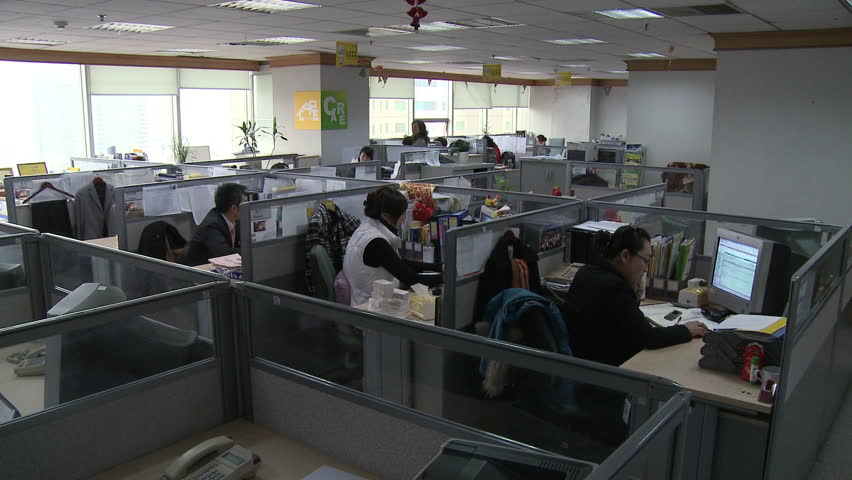 Chengdu, China - March 2010: A modern Chinese office with workers at their computers in cubicles in Chengdu, China.   Shutterstock HD Video #11509487