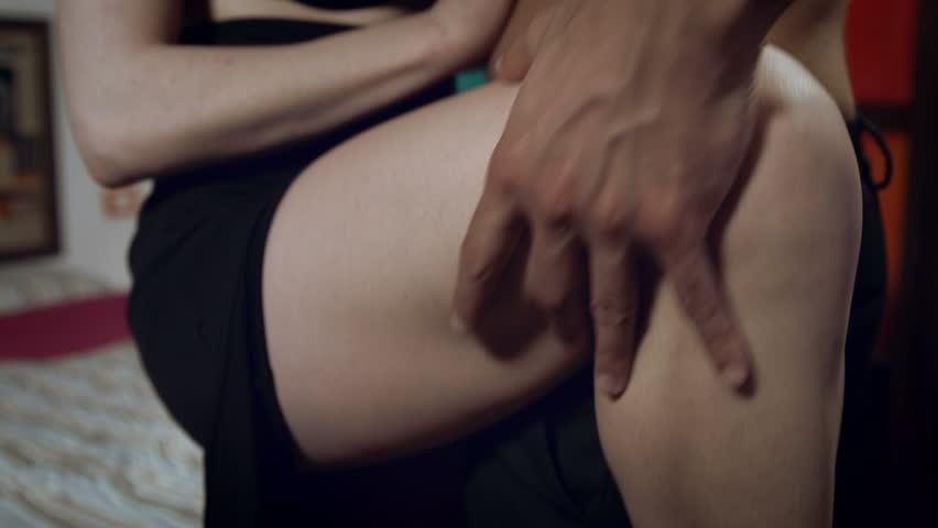 people making sex: people in love having sexual moments in bedroom
