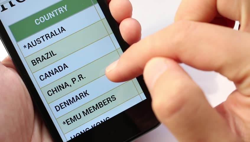 List of States and currency With Smart phone. Foreign exchange market | Shutterstock HD Video #11544677