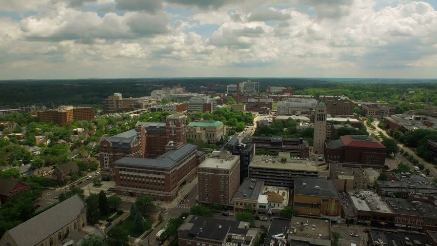 Ann Arbor Aerial v4 Flying low over downtown panning right.