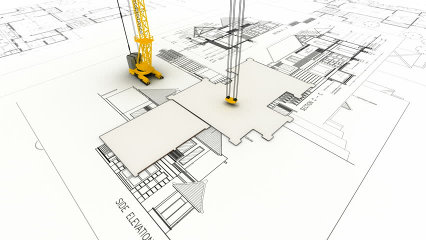 3d animation showing a home construction process from the residential building with a crane on top of architect drawing hd stock footage clip malvernweather Gallery