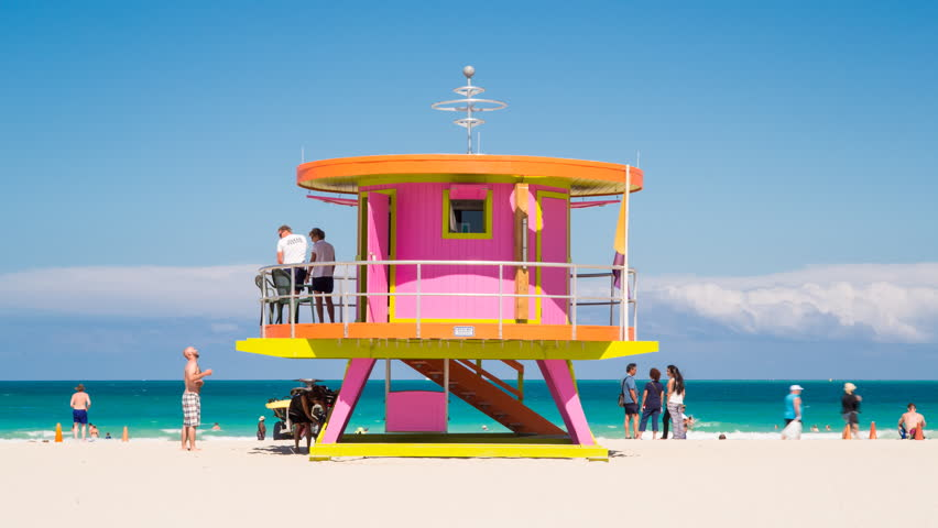Art Deco Style Liuard Hut On South Beach Ocean Drive Miami Circa 2017 Florida Usa Timelapse