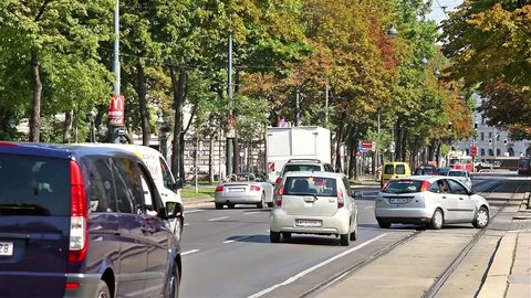 VIENNA, AUSTRIA - AUGUST 06, 2015: Rush Hour Traffic On Downtown Streets Of Vienna City.