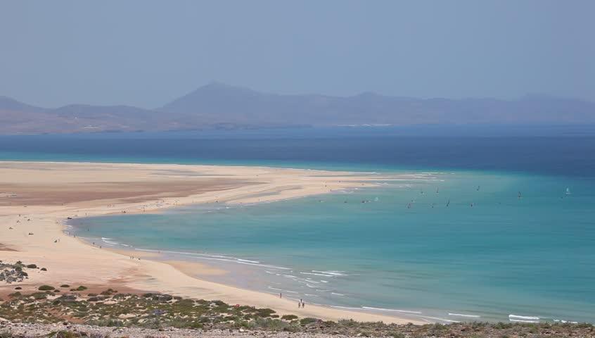Strand Jandia Playa På Canary Stock Footage Video 100-7819
