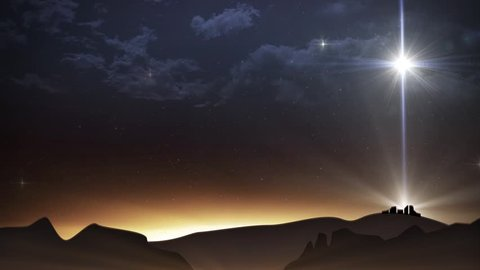 Beautiful sky with twinkling stars and a large bright star above the nativity, in the city of Bethlehem.