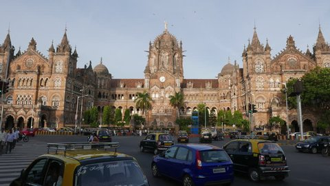 Mumbai, India - September 7, 2015: 4K Video of Chhatrapati Shivaji Terminus (CST) is a UNESCO World Heritage Site and an historic railway station on September 7, 2015 in Mumbai, India.