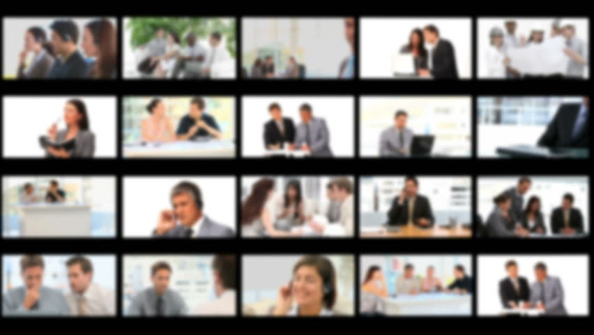 Montage of businessmen working together at the office