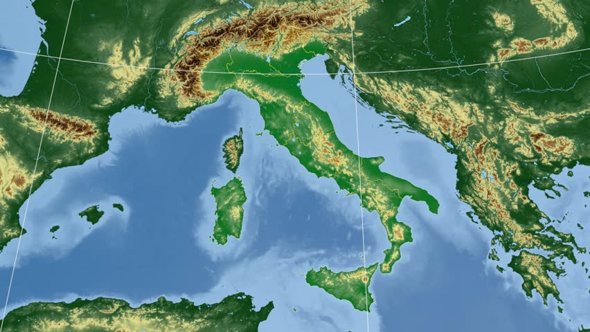 Sicily Autonomous Region Extruded On The Physical Map Of Italy - Map of italy physical