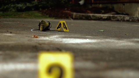 Empty sneaker at crime scene.